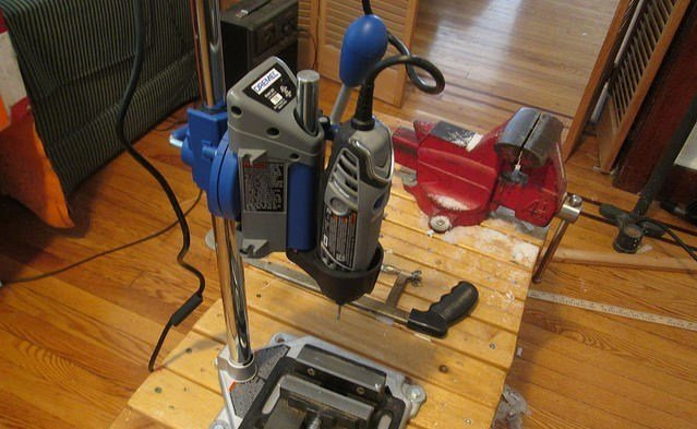 Image of Dremel 3000 mounted in Drill Press Workstation (optional Attachment)