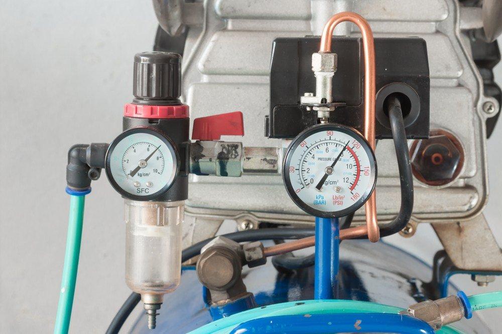 image of a pressure gauge and air filter regulator on Air Pump