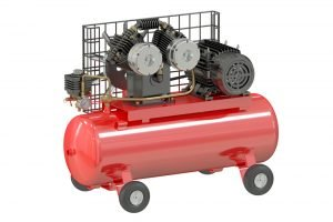 image of red twin cylinder single stage compressor
