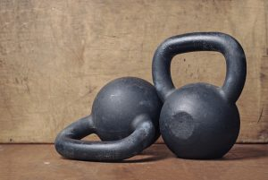 two heavy kettlebell black